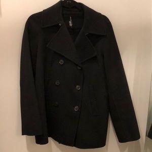 Vince black wool pea coat jacket medium